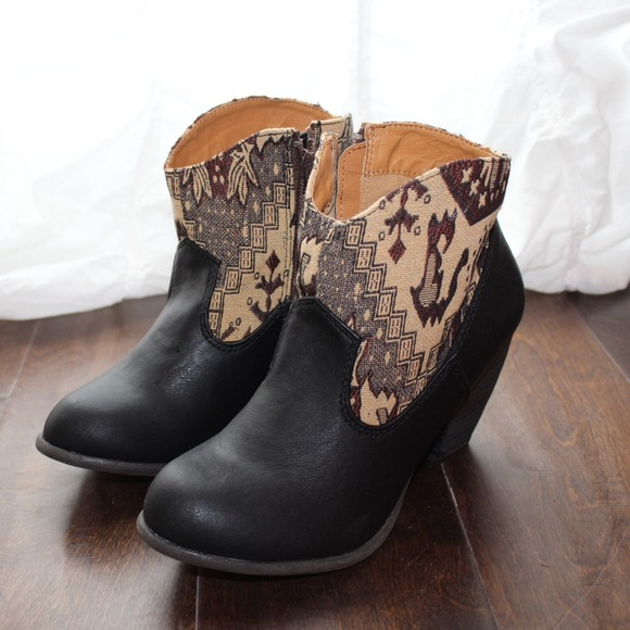 Boots - New southwest print black booties