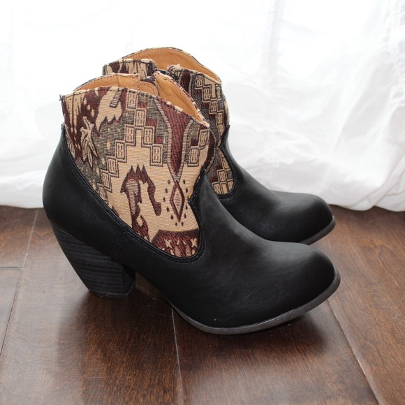 Boots - New southwest print black booties 2