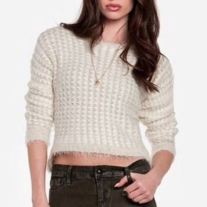 Sweaters - Soft & Fuzzy Cream Cropped Front Sweater - Small