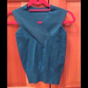 Sweaters - Turquoise sleeveless sweater