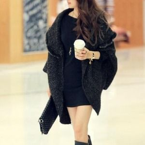 Accessories - Korean style rabbit fur oversized loose sweater