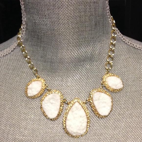 Beautiful white stone statement necklace new
