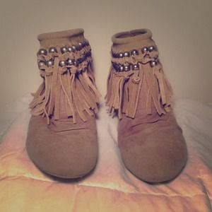Beige Booties w/ Beads and Tassels