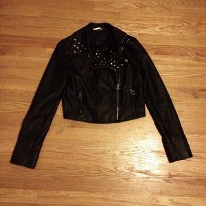 Black Faux-Leather Cropped Moto-Jacket