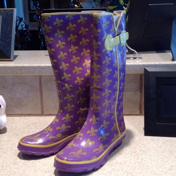 50% off Shoes - Volatile purple/gold with fleur delis rain boots ...