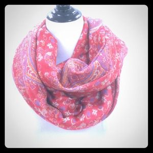Red tapestry scarf