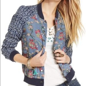 ❤️SOLD❤️ Free People Printed Bomber Jacket