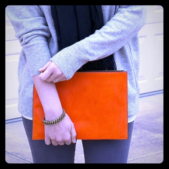 ASOS Clutches & Wallets - New ASOS Orange Leather Clutch Bag In Pony 🎉🎉 HP