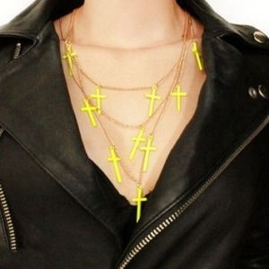 Sale 3 Layer Neon Yellow Cross Necklace NWOT