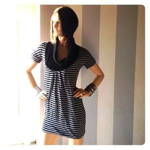Zara Dresses & Skirts - Striped Zara soft cowl--neck sweater top/mini
