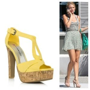 🌻 Yellow Cork Heeled Sandals - 7