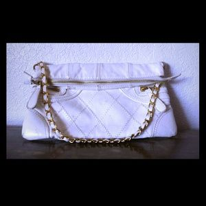 White faux leather clutch
