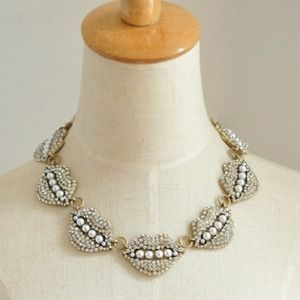 Jewelry - Crystal and Pearl Lips Statement Necklace