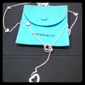 Authentic Tiffany Lariat heart link design necklac