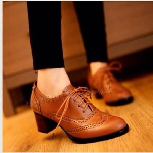 Brown Oxford shoe with heel