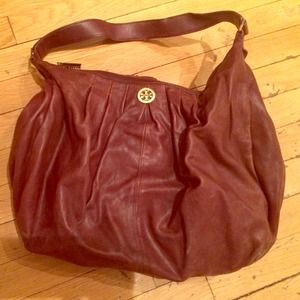 Tory Burch burgundy leather hobo tote bag