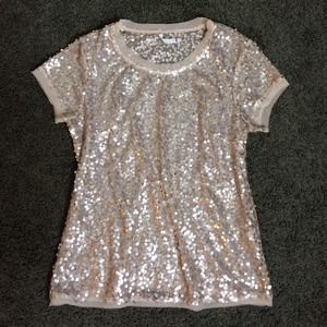 Willow & Clay Tops - Willow & Clay Sheer Champagne Sequin Tee - S