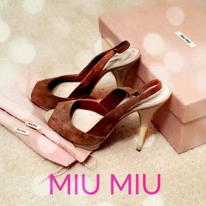  HP 9/8  MIU MIU Peep Toe Heels - Brown Suede
