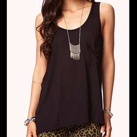 e67d738346528 Forever 21 Draped Back High Low Tank Top in black