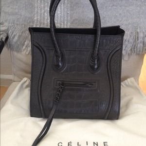 celine bag knockoff - CELINE - ??Authentic CELINE Croc Embossed Phantom! from Silvia's ...