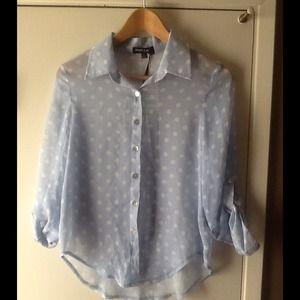 Tops - Baby Blue Polka Dot Sheer Long Sleeves Top