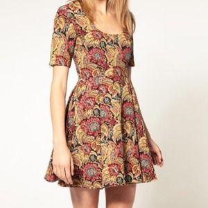 ASOS Premium Brocade Dress in Fit and Flare - US2