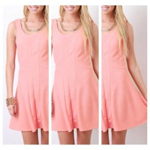 Peach Stretch Jersey Skater Dress