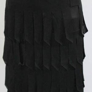 Tadashi Black Fringe Tiered skirt