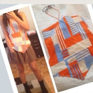 THEORY orange, blue & white geometric silk halter