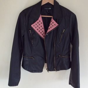 Forever 21 Jackets & Blazers - Forever 21 black pink faux leather moto jacket M