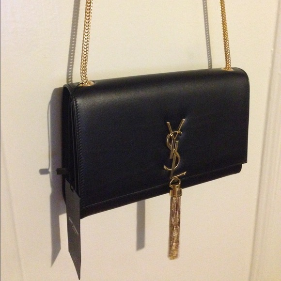 Gold Yves Saint Laurent YSL Metal Purse Replacement Hardware With Tassel