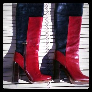 TORY BURCH RED & BLK BOOTS SZ 8M EUC REDUCED
