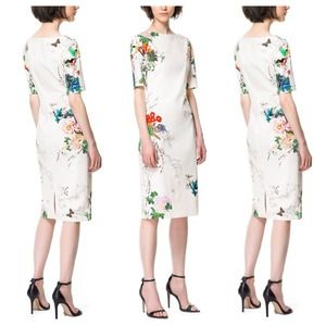Dresses & Skirts - Exquisite White Floral Dress + 3/4 Sleeves