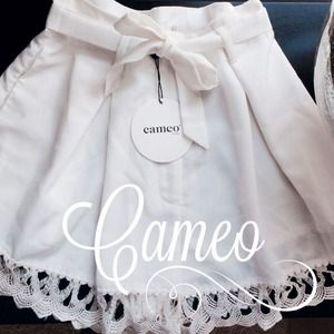 Cameo Colette lace trim shorts. With waist tie.