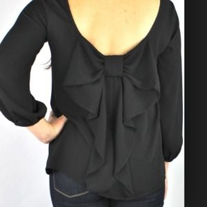 Tops - Black bow back blouse