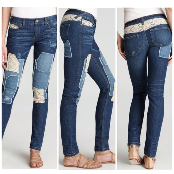 61% off Free People Denim - Free People Distressed Patch Skinny ...