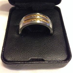 Other - Men's Stainless Steel Ring with Gold Wire Accents