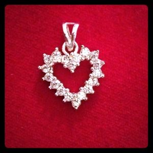 Jewelry - Sterling Silver Crystal Heart Pendant