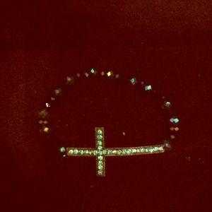 Jewelry - Aqua blue and black sideways cross bracelet