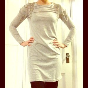 Heather gray dress with silver shoulder detail