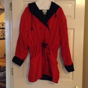 Red silk jacket with hood new price $15