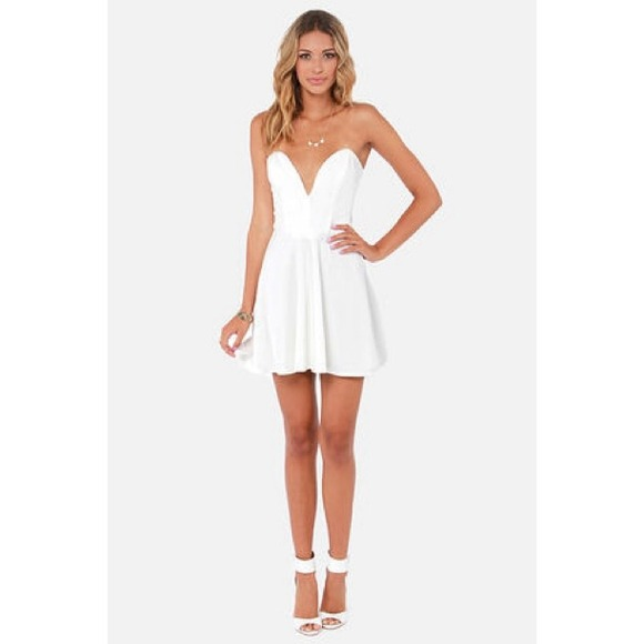 22% off Dresses &amp- Skirts - White Sweetheart Deep V Strapless ...