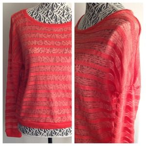 NWOT // Coral Sheer Long Sleeve Sweater