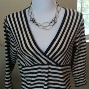 Liz and Co Navy and White Strip Top