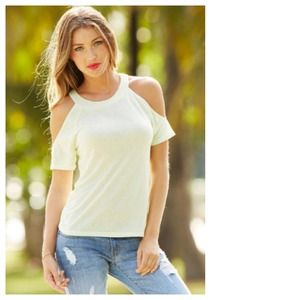 Tops - Pistachio Short Sleeved Top + Cut-Out Shoulders