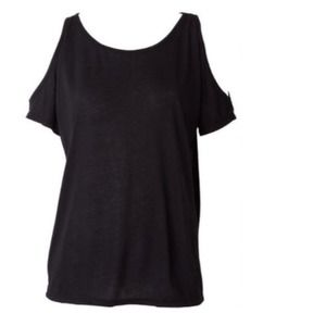 Tops - Soft Black or White Top + Cut-Out Shoulders