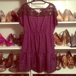 Charlotte Russe Dresses & Skirts - Purple Polka Dot Lace Trim Dress