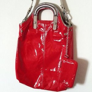 Stella McCartney patent fold over tote