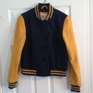 Jackets & Blazers - Blue and Yellow Letterman Jacket