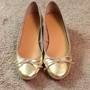Available Soon!! Zara Gold leather shoes size 6.5